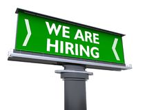 We are hiring. The words we are hiring in a large billboard Royalty Free Stock Photography