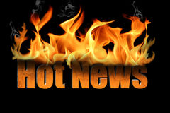 Words Hot News in Flame Text Stock Images