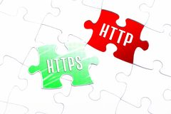 The Words HTTPS And HTTP In A Missing Piece Jigsaw Puzzle. The Words HTTPS And HTTP In Missing Piece Jigsaw Puzzle royalty free stock images