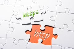 The Words HTTPS And HTTP In Missing Piece Jigsaw Puzzle. The Words HTTPS And HTTP In A Missing Piece Jigsaw Puzzle stock photos