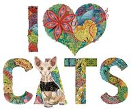 Words I LOVE CATS with a figure of cat. Vector decorative zentangle object. Hand-painted art design. Hand drawn illustration words I LOVE CATS with a figure of Stock Photo