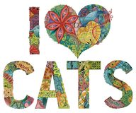 Words I LOVE CATS. Vector decorative zentangle object Stock Images