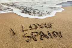 The words I Love Spain written in the sand Stock Image