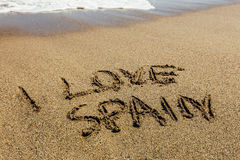 The words I Love Spain written in the sand Royalty Free Stock Photo