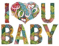 Words I LOVE YOU BABY. Vector decorative zentangle object vector illustration