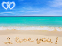 Words I Love You on beach stock photography
