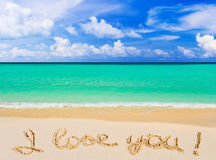 Words I Love You on beach Royalty Free Stock Photos
