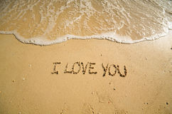 Words I love you on the beach Stock Photo