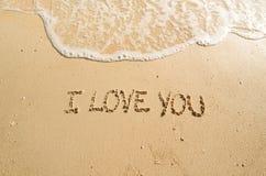 Words I love you on the beach Stock Photos