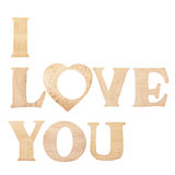 Words I Love You made of wooden textured letters Royalty Free Stock Photography