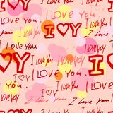 Words i love you on pink background Royalty Free Stock Photos
