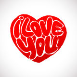 Words I Love you shaped in heart symbol Royalty Free Stock Images