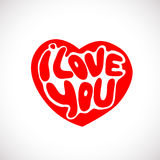 Words I Love you shaped in heart symbol Stock Photography