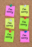 The words I'm sorry on notes. The words I'm sorry on colorful notes Royalty Free Stock Photos