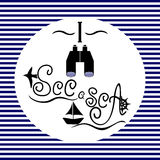 The words I see a sea on a blue and white striped background Royalty Free Stock Image