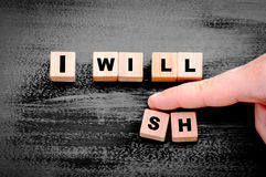 Words I wish replaced by I will. Stock Images
