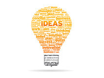 Words - Ideas. Abstract Light Bulb with the word Ideas on white background vector illustration