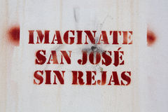 Words Imagine San Jose without gates graffiti Stock Photos