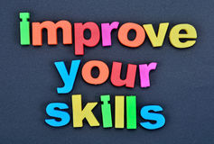 Words Improve your skills on background Royalty Free Stock Photo