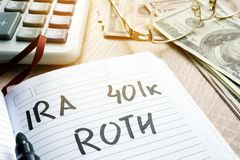 Words IRA 401k ROTH handwritten in a note. Retirement plans. IRA 401k ROTH handwritten in a note. Retirement plans Stock Images