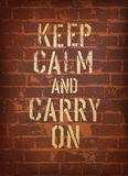 The words keep calm and carry on. Royalty Free Stock Image
