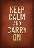 The words keep calm and carry on. Stock Photography