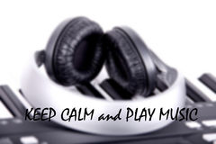 Words keep calm and play music Royalty Free Stock Photography