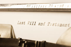 Words last will and testament written on typewriter Royalty Free Stock Image