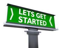 Lets get started. The words lets get started in a large billboard stock illustration