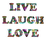 Words live, laugh, love zentangle stylized on white background, Royalty Free Stock Image