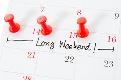 The words Long Weekend. Stock Images