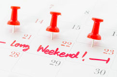 The words Long Weekend. Stock Photos