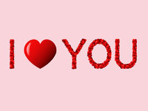 """Words of love. English phrase """"I love you"""" written by red hearts Royalty Free Stock Image"""