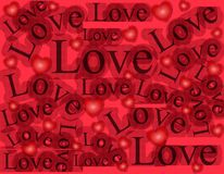 Words of Love Background Pattern 2. A background pattern featuring the word 'Love' in a variety of sizes and positions with hearts in red and black colours Stock Photography