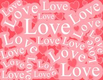 Words of Love Background Pattern. A background pattern featuring the word 'Love' in a variety of sizes and positions with hearts in pink and white colours Stock Image