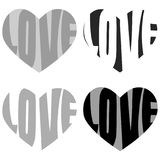 Words Love Heart Shape. Valentines day heart shapes and love words written on black and white Stock Photo