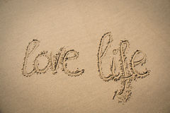 The words love life written in the sand Stock Image