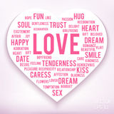 Words of love in shape of heart on white background. Royalty Free Stock Photography