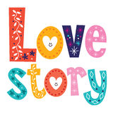 Words Love story retro typography lettering decorative text Royalty Free Stock Images