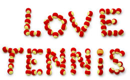 The words love tennis spelled out with balls. Royalty Free Stock Photos