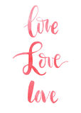 The words love, watercolor, calligraphy Royalty Free Stock Photo