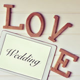Words love and wedding, filtered Royalty Free Stock Photos
