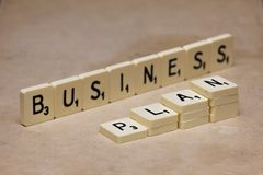 Words made from board game: business plan Royalty Free Stock Photos