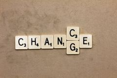 Words made from board game: change chance  Stock Photography