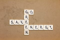Words made from board game: go green save energy Stock Photos