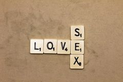 Words made from board game: love sex Royalty Free Stock Photos