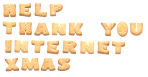 The words made of cookies. The words: help, thank you, internet, xmas made of cookies Royalty Free Stock Photos