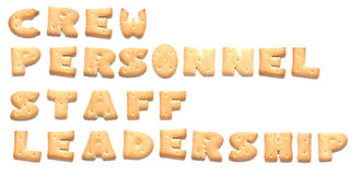 The words made of cookies. The words: crew, personnel, staff, leadership made of cookies Stock Photography
