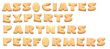 The words made of cookies. The words: associates, experts, partners, performers made of cookies Stock Photo