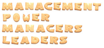 The words made of cookies. The words: management, power, managers, leaders made of cookies Royalty Free Stock Photo